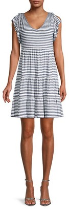 Max Studio Striped Tiered Dress