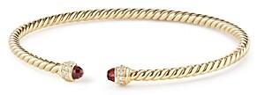 David Yurman Cable Spira Bracelet in 18K Gold with Garnet & Diamonds