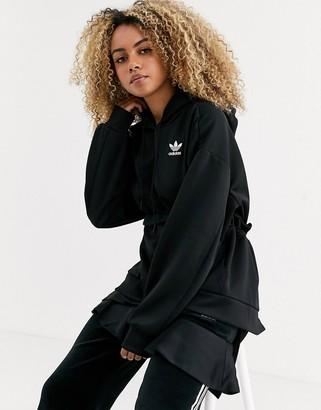 adidas x J KOO trefoil ruffle hoodie in black