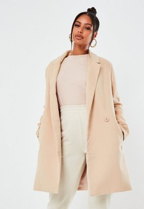 Missguided Nude Extreme Wrap Single Breasted Coat