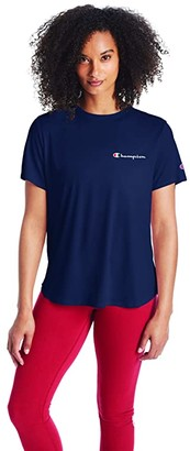 Champion Classic T-Shirt - Left Chest Script (Athletic Navy) Women's Clothing