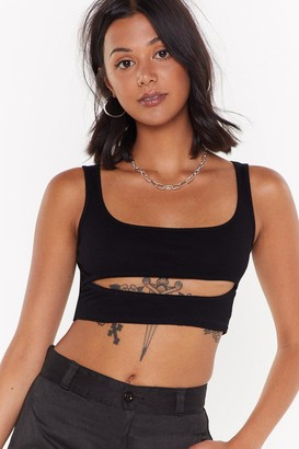 Nasty Gal Womens Cut-Out For the Count Underboob Crop Top - Black - 6