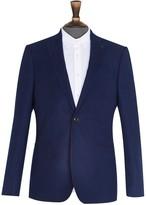 Burton Mens Navy Slim Fit Faux Wool Stretch Blazer