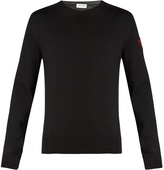Saint Laurent Badge-appliqué crew-neck sweater