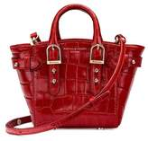 Aspinal of London Micro Marylebone Tote In Deep Shine Red Croc