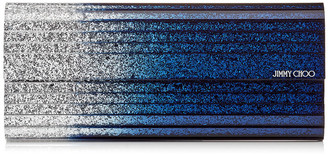 Jimmy Choo SWEETIE Silver and Navy Degrade Glitter Acrylic Clutch Bag