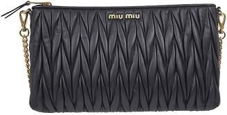 Miu Miu Chain Strap Logo Quilted Shoulder Bag