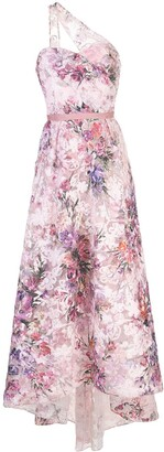 Marchesa Floral-Print One-Shoulder Gown
