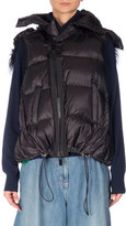 Sacai Fur-Trim Down Puffer Vest, Black