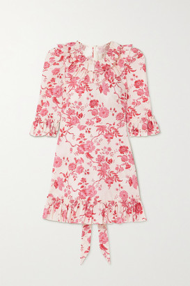 The Vampire's Wife The Gloria Ruffled Floral-print Cotton-poplin Mini Dress - Pink