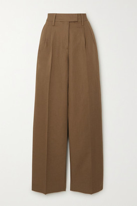 REMAIN Birger Christensen Camino Cotton And Linen-blend Tapered Pants - Taupe