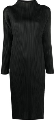 Pleats Please Issey Miyake Textured Long-Sleeved Midi Dress
