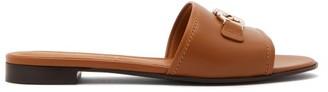Salvatore Ferragamo Rhodes Logo-plaque Leather Slides - Tan