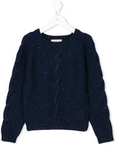 Lili Gaufrette glittered cable-knit jumper