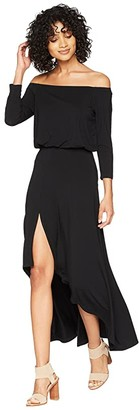 American Rose Kai 3/4 Sleeve Off the Shoulder Dress (Black) Women's Dress