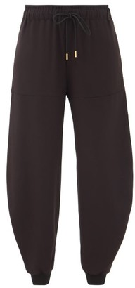 Chloé Drawstring-waist Pegged Satin-back Crepe Trousers - Black