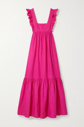 Self-Portrait Open-back Ruffled Cotton-poplin Maxi Dress - Fuchsia