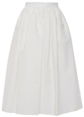 MSGM Flared Gathered Jacquard Midi Skirt