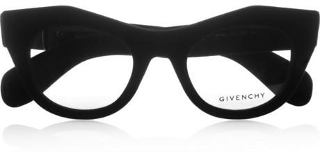 Givenchy Cat eye-frame velvet-covered acetate optical glasses