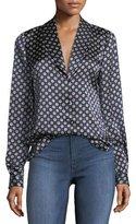 Frame Mini Paisley Shawl-Collar Satin Blouse