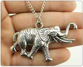 Nobrand No brand antique silver tone 63*38mm big elephant pendant necklace, 70cm chain long necklace