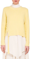 Proenza Schouler Cropped Sweater W/Lace-Up Sides, Sun Yellow