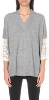 Claudie Pierlot Mania crochet-sleeve wool-blend jumper