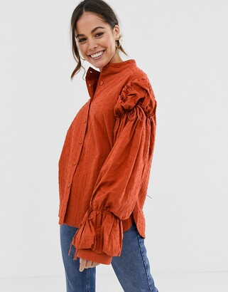 GHOSPELL oversized puff sleeve blouse-Orange