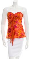 Miguelina Silk Floral Print Top