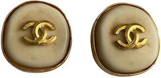 Chanel CC Beige Gold plated Earrings