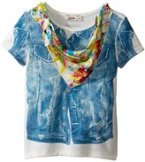 Junior Gaultier Top with Denim Vest Print and Floral Bandana Girl's Clothing