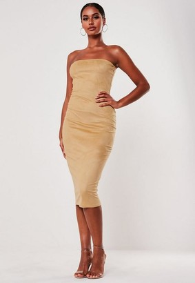Missguided Mocha Faux Suede Bandeau Bodycon Midi Dress