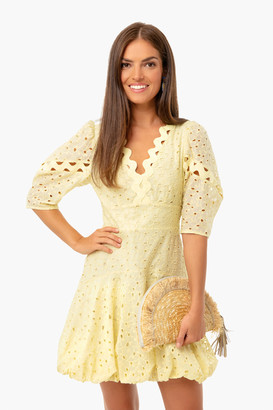 Rebecca Taylor Citron Combo Short Sleeve Audrey Eyelet Dress