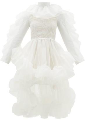 Christopher Kane Ruffled Dip-hem Silk-organza Dress - Womens - White