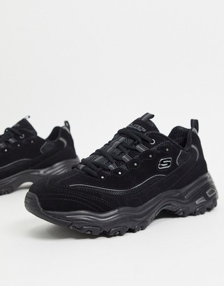 Skechers d lites trainers in all black