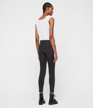 AllSaints Grace Mid-Rise Ankle Skinny Jeans, Washed Black