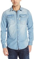 G Star Men's Wolker Long Sleeve Button-Up Shirt In Light Weight Craser Denim