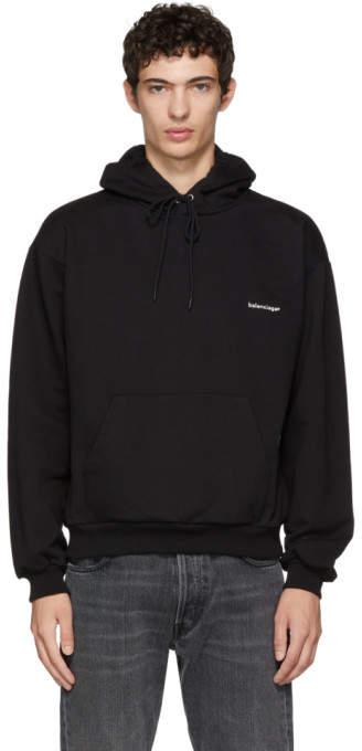 Balenciaga Black Small Logo Hoodie