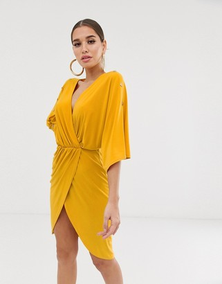 Koco & K plunge front pencil dress with gold button detail in mustard