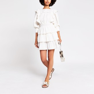 River Island Womens White cotton tiered dress