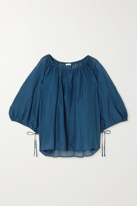 Skin Bianca Gathered Cotton-voile Blouse - Cobalt blue