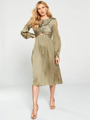 Little Mistress Satin and Lace Trim Midi Dress - Khaki