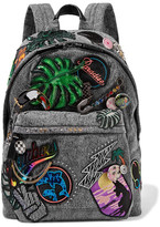 Marc Jacobs Paradise Biker Embellished Denim Backpack - Dark gray