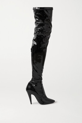 Saint Laurent Faux Patent-leather Over-the-knee Boots - Black