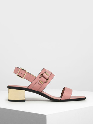 Charles & Keith Chrome Block Heel Sandals