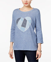 Style&Co. Style & Co Patchwork-Heart Roll-Tab Top, Only at Macy's