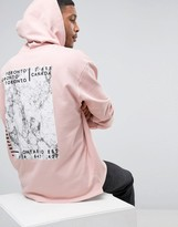 Asos Oversized Longline Hoodie With Marble Back Print