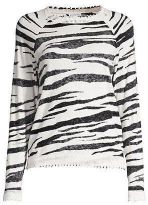 Minnie Rose Tiger Cashmere-Blend Crewneck Sweater