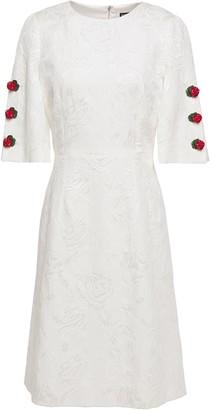 Dolce & Gabbana Floral-appliqued Cotton-blend Floral-jacquard Mini Dress