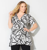 Avenue Scribble Surplice Knot Top